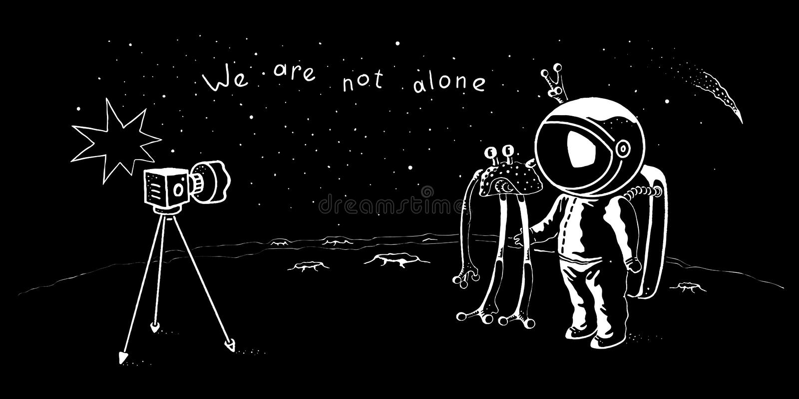 Cute astronaut and ufo vector characters posing for selfie shot. Spaceman adventure in the galaxy. Concept illustration