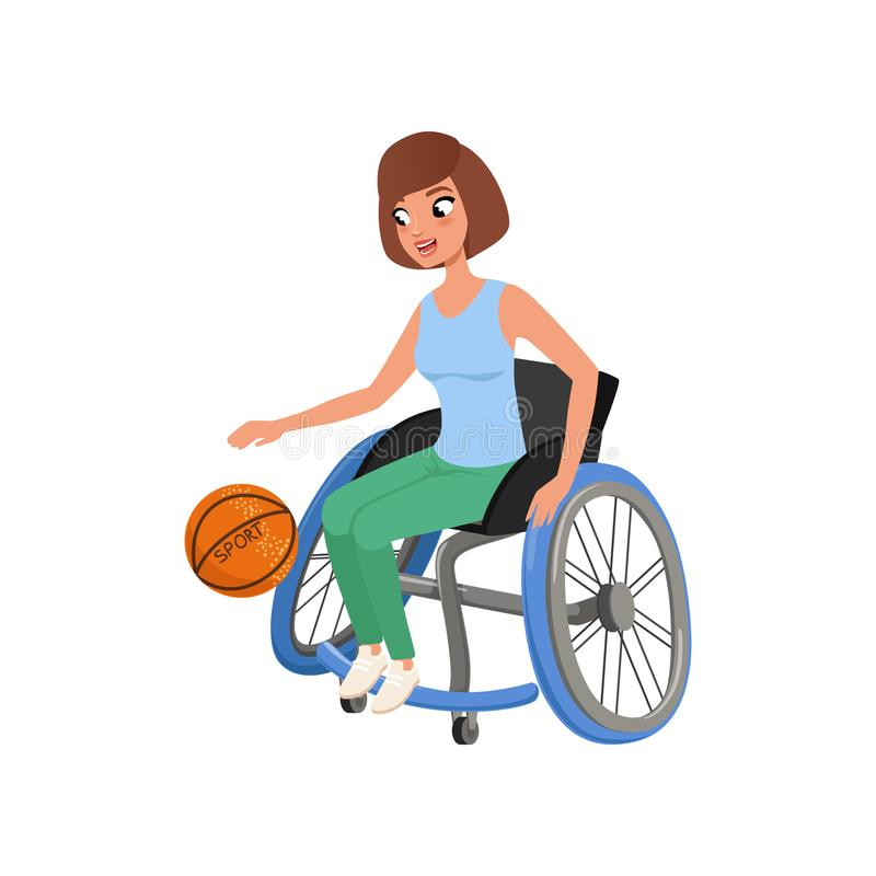 Cute athlete woman with physical disabilities playing in basketball. Active lifestyle. Young girl in wheelchair. Flat stock illustration