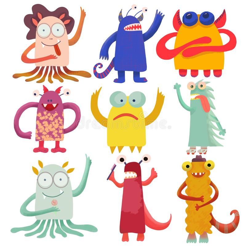 Cute attractive monsters set for print design. Symbol collection. Cute monster collection. Happy kids cartoon collection. People stock illustration