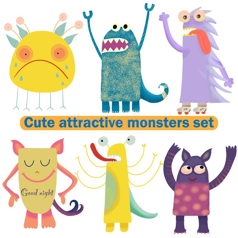 Cute attractive monsters set for print design. Symbol collection. Cute monster collection. Happy kids cartoon collection. People royalty free illustration