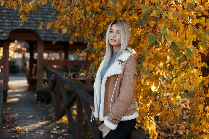 Cute attractive young blonde girl in stylish autumn clothes walks in the park on the sunny day. Autumn, season stock photo