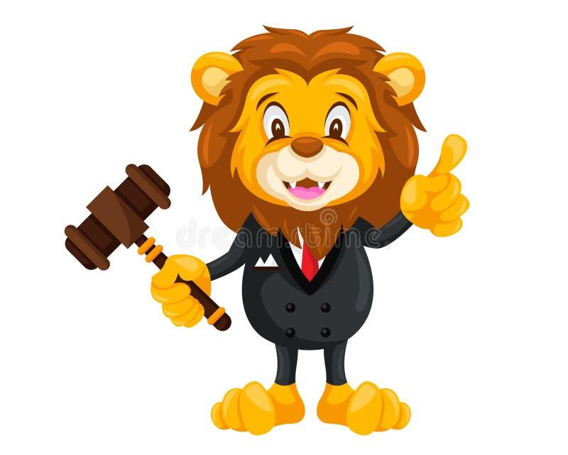 Cute Auction Animal Cartoon Character Illustration - Lion vector illustration