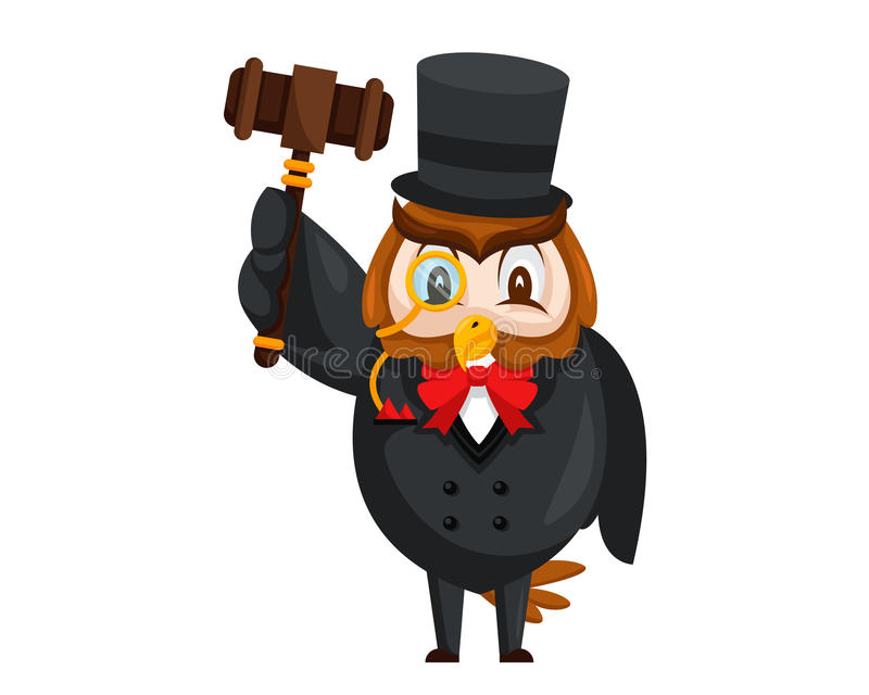 Cute Auction Animal Cartoon Character Illustration - Owl royalty free illustration