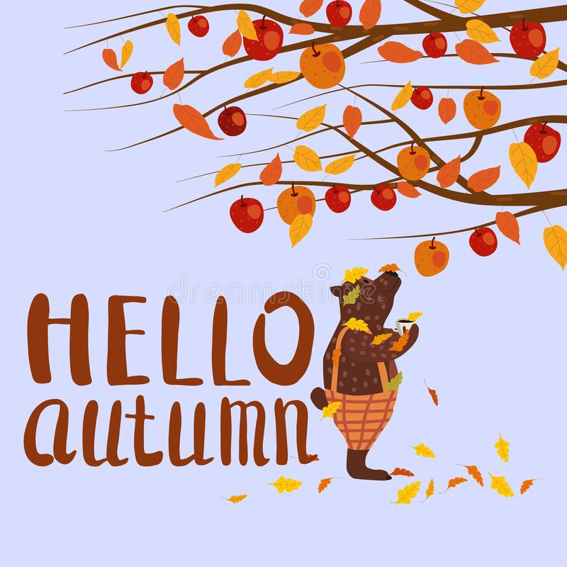 Cute autumn bear covered in fallen autumn leaves with a cup of coffee, Hello Autumn lettering, fall under apple tree vector illustration