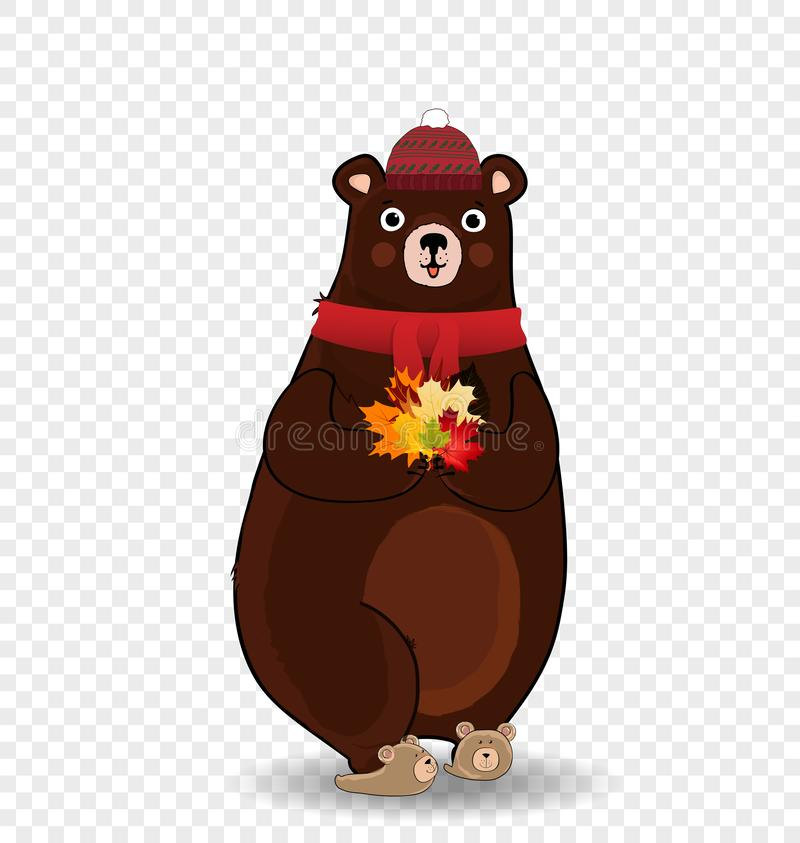 Cute autumn bear in red knitted scarf and hat holding maple leaves isolated clip art. vector illustration