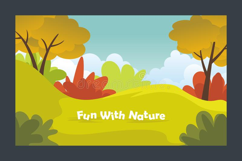 Cute Autumn beautiful landscape with flat design royalty free illustration