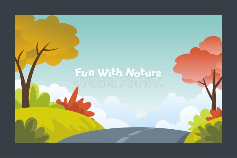 Cute Autumn beautiful landscape with flat design stock illustration