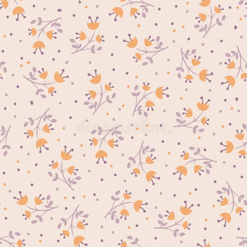 Cute autumn flower seamless pattern with with leaves and blossom. Cute flower pattern, fall mood, autumn mood stock illustration