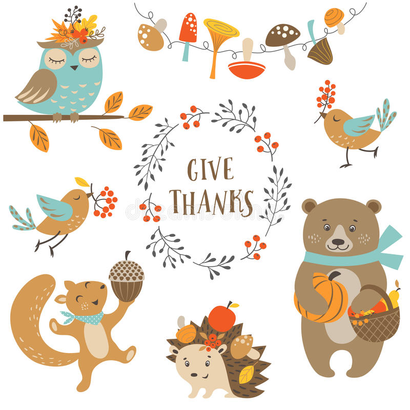 Cute autumn forest animals vector illustration