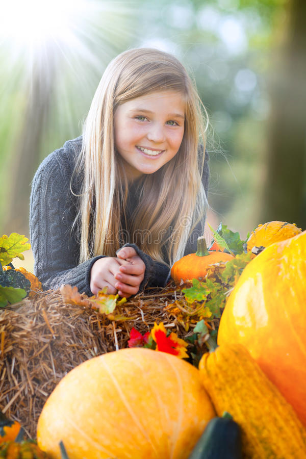 Download Cute autumn girl smiling stock photo. Image of leisure - 26429338