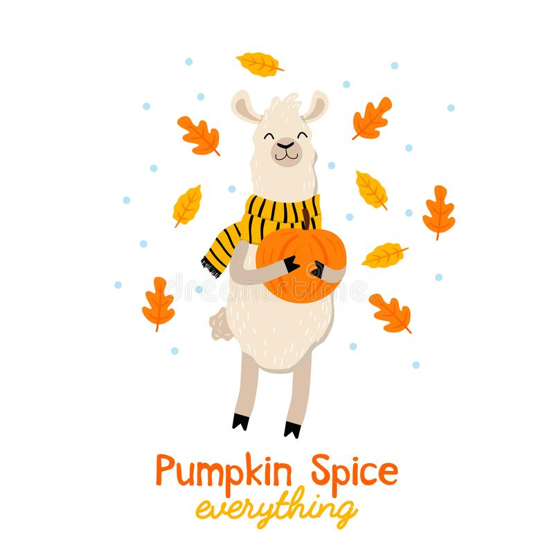 Free Cute Autumn Illustration With Llama, Tea, Leaves And Lettering I Royalty Free Stock Photo - 130596885
