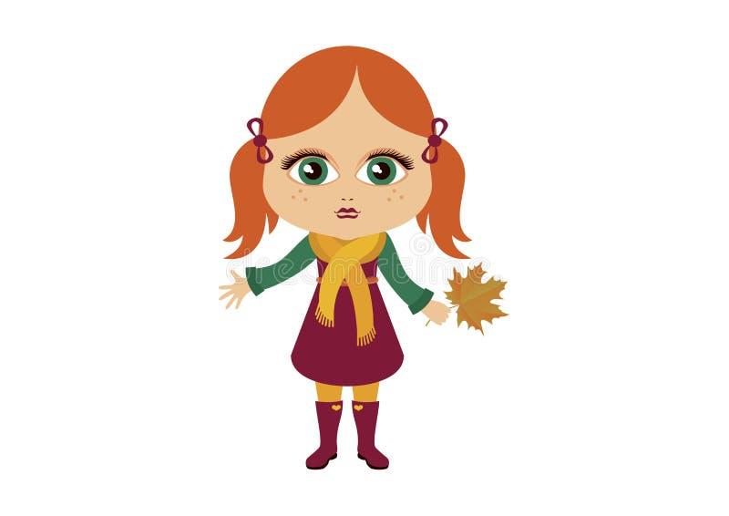 Cute autumn little girl vector icon vector illustration