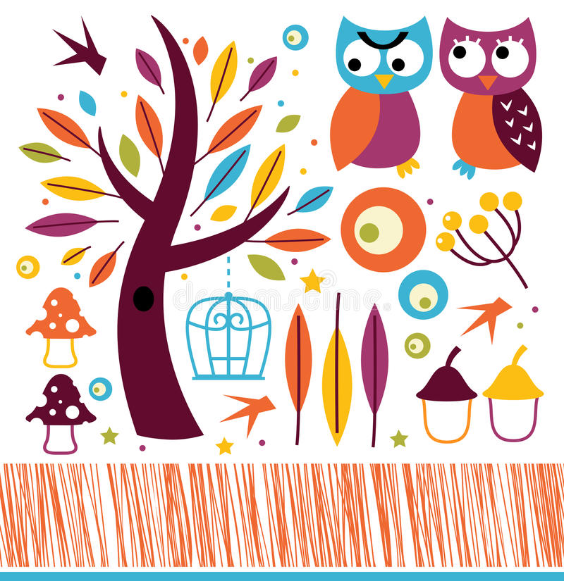 Cute autumn owls and design elements royalty free illustration