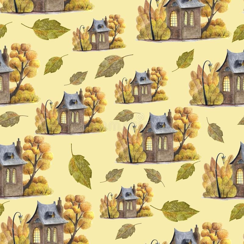 A cute autumn pattern with hand drawn elements royalty free illustration