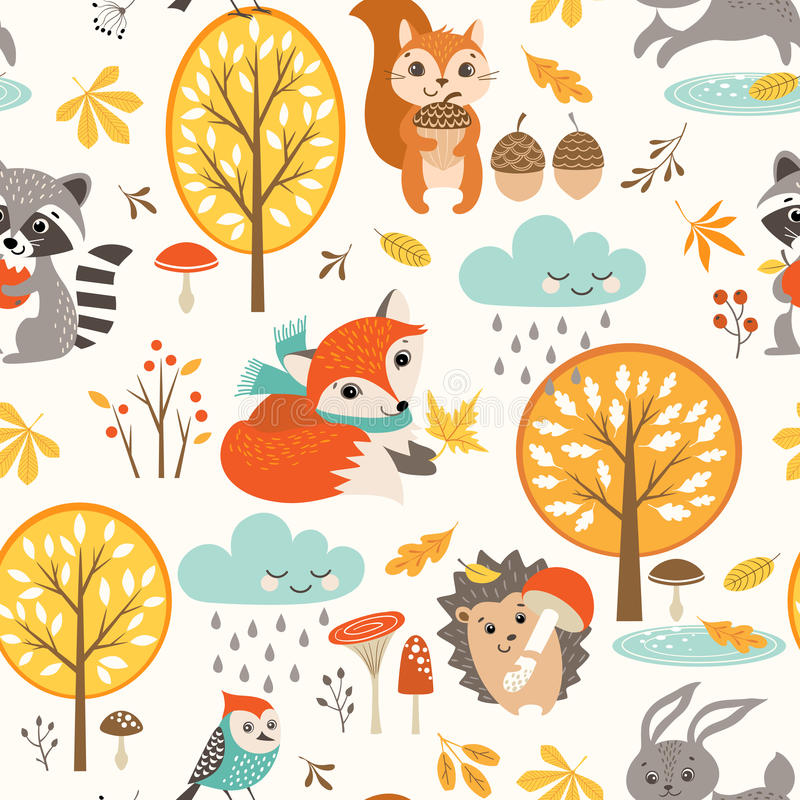 Cute autumn rainy pattern royalty free illustration