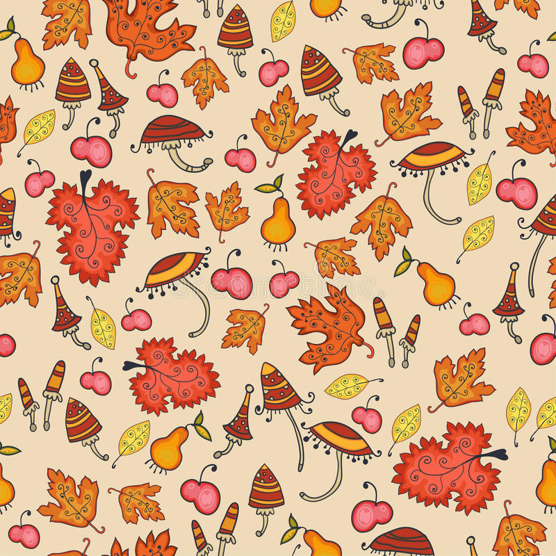 Download Cute Autumn Thanksgiving Floral Seamless Stock Vector