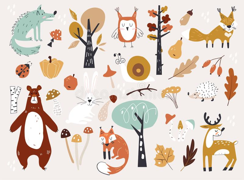 Cute Autumn Woodland Animals and Floral Forest Design Elements. Set of cute autumn cartoon characters, plants and food. Fall season. Harvest festival or royalty free illustration
