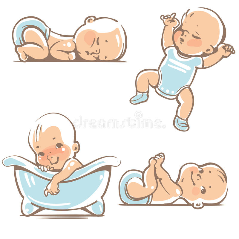 Cute Babies In Blue Clothes. Stock Vector - Image: 61218341