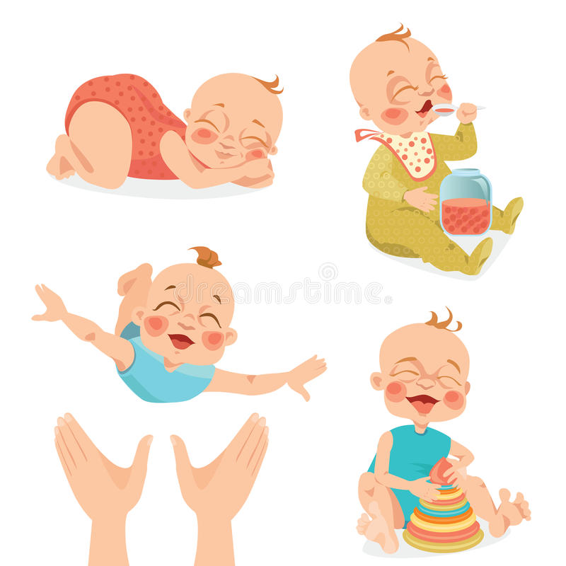 Cute babies in cartoon style. Set of vector illustrations of cute babies in cartoon style royalty free illustration