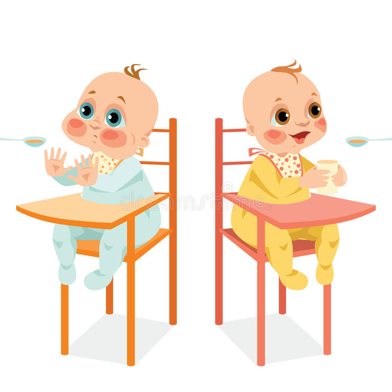 Cute babies in cartoon style. Set of vector illustrations of cute babies in cartoon style stock illustration