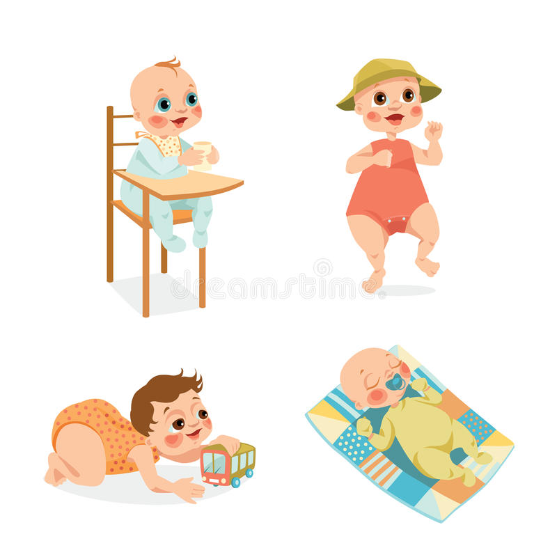 Cute babies in cartoon style. Set of vector illustrations of cute babies in cartoon style vector illustration