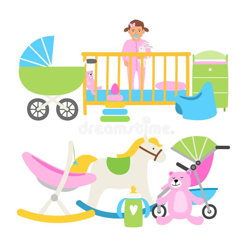 Cute babies equipment for life vector collection. Illustration of baby newborn, toddler kid in bed vector illustration