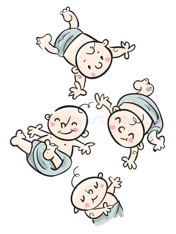 Cute babies flying illustration. Freehand drawing child stock illustration