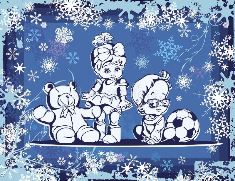 Cute Babies Illustration over Winter Background. Illustration of cute babies over a winter background vector illustration