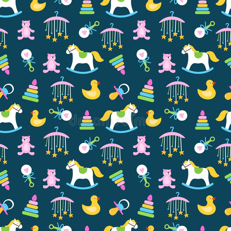 Cute babies toys seamless pattern vector design. Toys for baby child, bear and horse illustration royalty free illustration