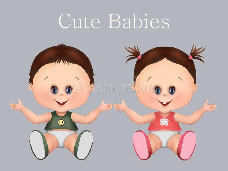 Cute babies, twins twin brothers i twin girls and baby boy. health and baby care, greeting card, postcard, healthy babies,. Illustration royalty free illustration
