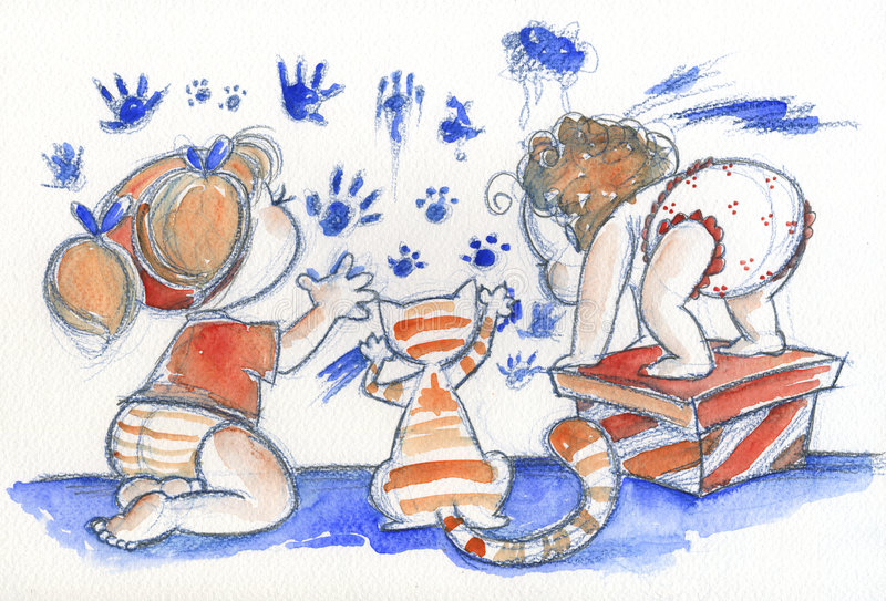 Cute babies at work. Two cute babies are painting. An orange cat gives his help. Illustration hand painted with watercolors