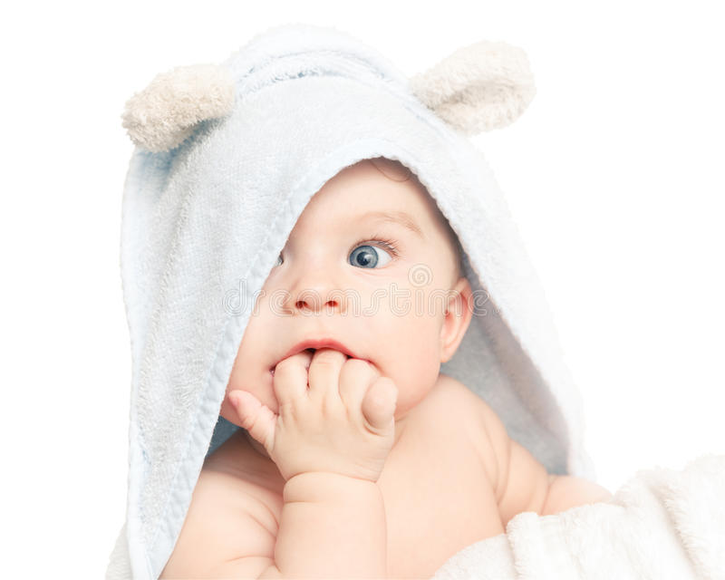 Cute baby. With towel on white royalty free stock photography