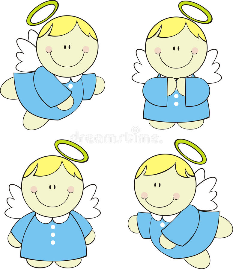 Cute baby angels. Set of isolated cute little angels, format very easy to edit