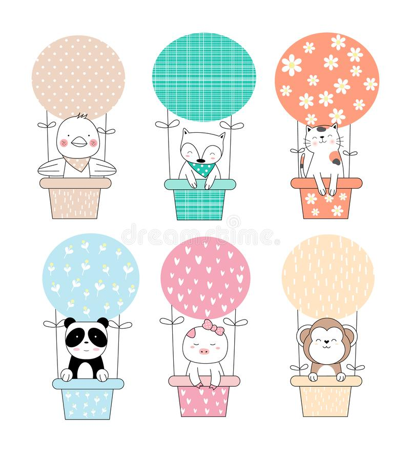 Cute baby animal with balloon cartoon hand drawn stock illustration