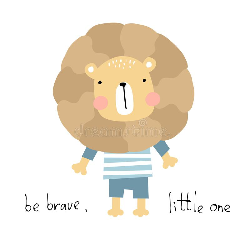 Free Cute Baby Animal Card. Be Brave Vector Illustration Royalty Free Stock Images - 123745569