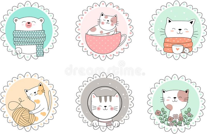 Cute baby animal cartoon hand drawn style.vector stock illustration