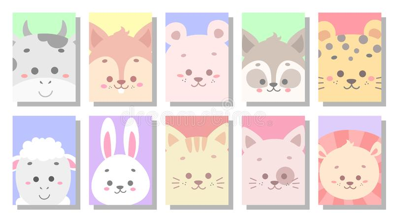 Cute baby animal greeting card vector illustration. Background, school, art, text, colorful, child, drawing, sweet, romantic, animals, textile, beautiful royalty free illustration