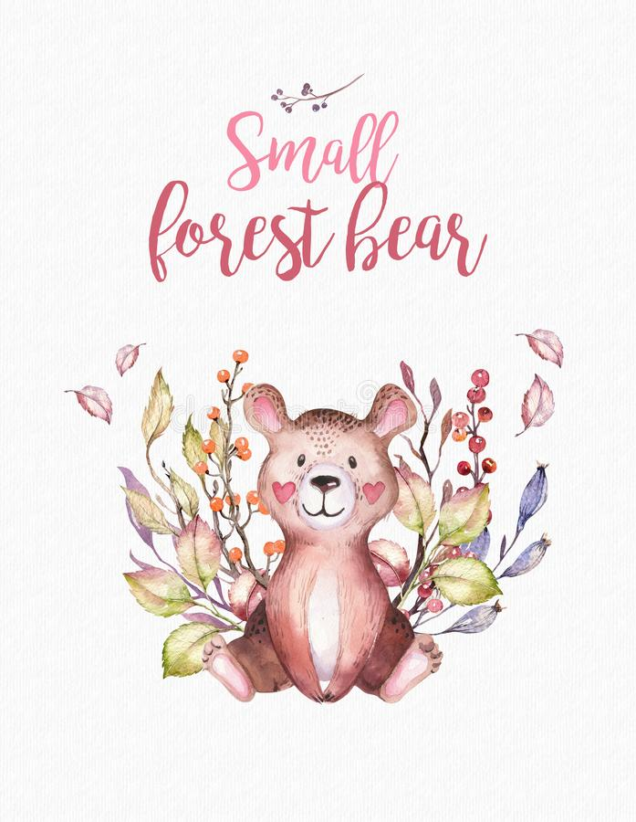 Cute baby animal nursery bear isolated illustration for children. Watercolor boho forest drawing image Perfect for. Nursery posters, pattern vector illustration