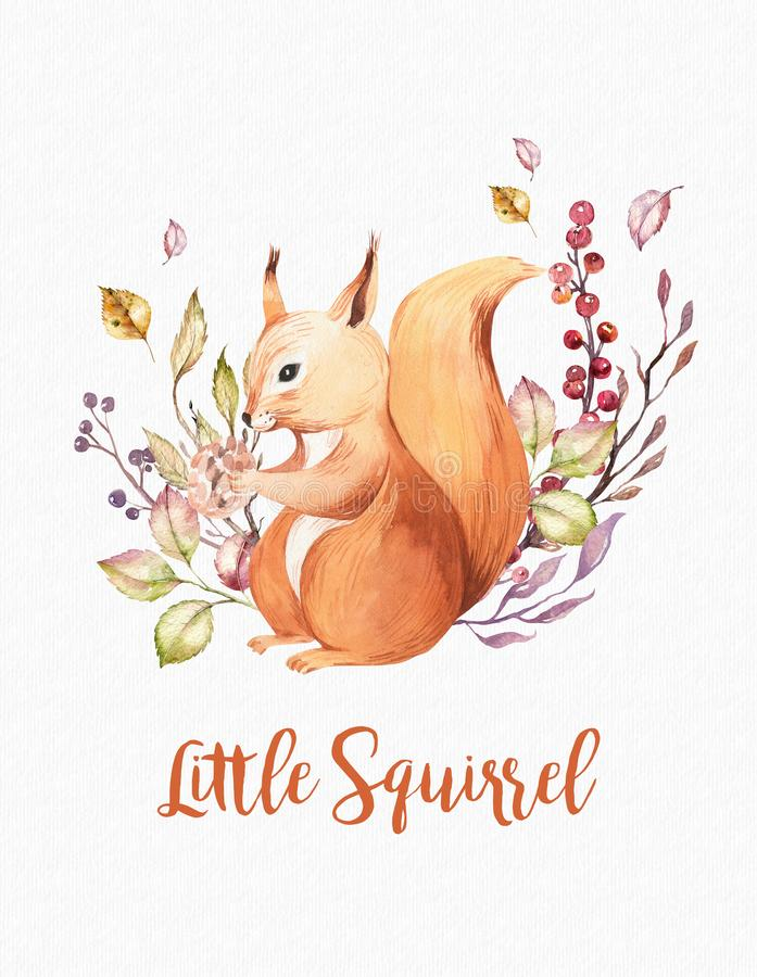 Cute baby animal nursery isolated illustration for children. Watercolor boho forest drawing squirrel forest image. Perfect for nursery posters, pattern stock illustration