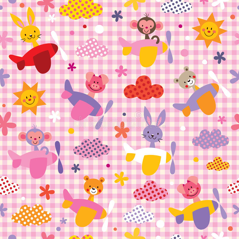 Cute baby animals in airplanes seamless kids pattern royalty free illustration