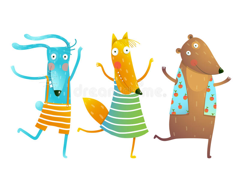Cute Baby Animals Rabbit Fox Bear Dancing or Playing Kids Characters Wearing Clothes royalty free illustration