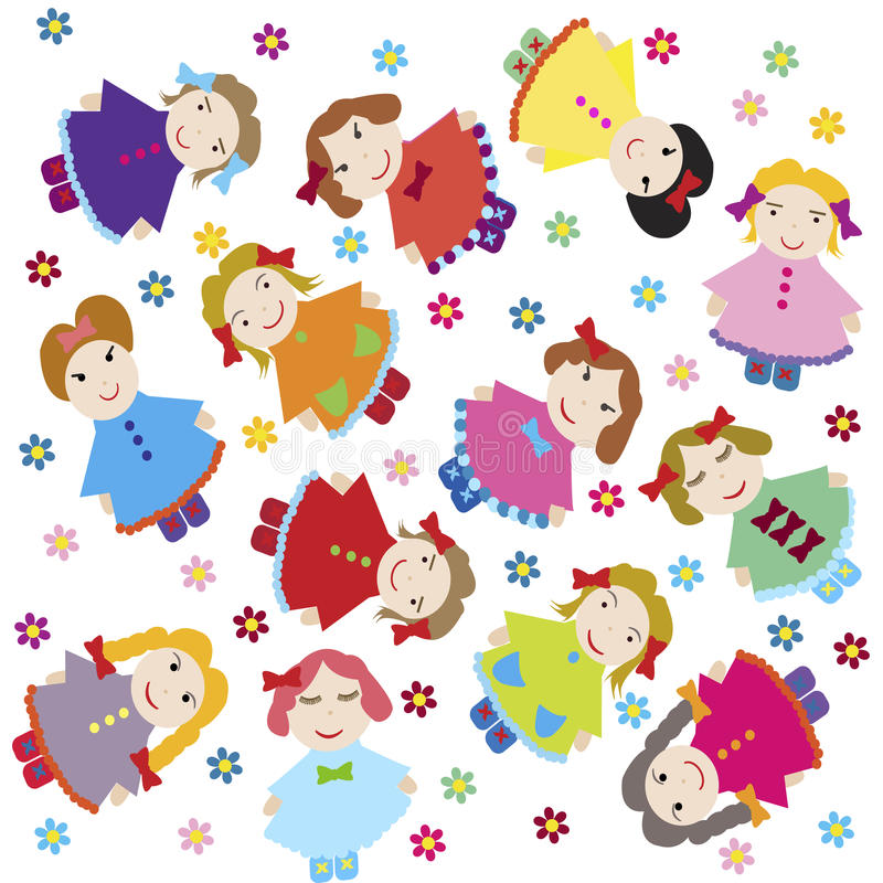 Cute baby background with dolls royalty free illustration