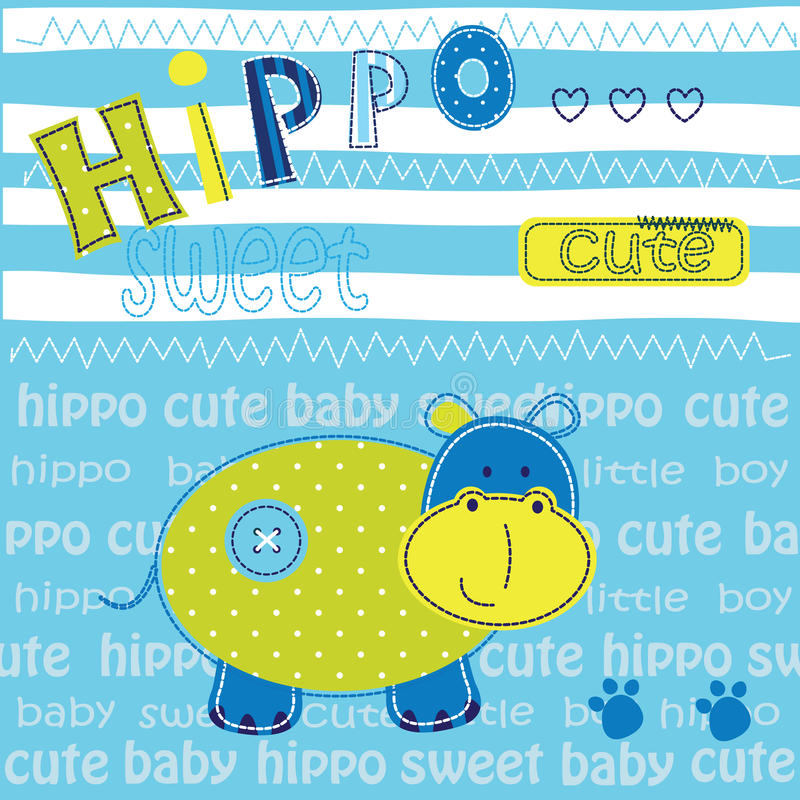 Cute baby background with hippo stock illustration