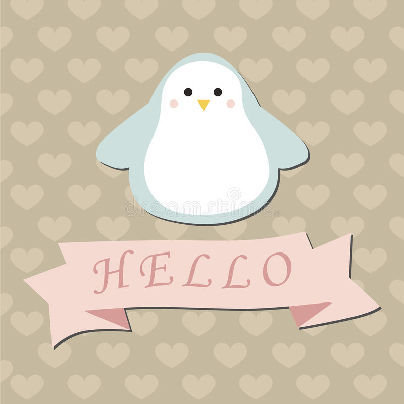 Cute Baby Background With Penguin. Stock Vector - Illustration of ...