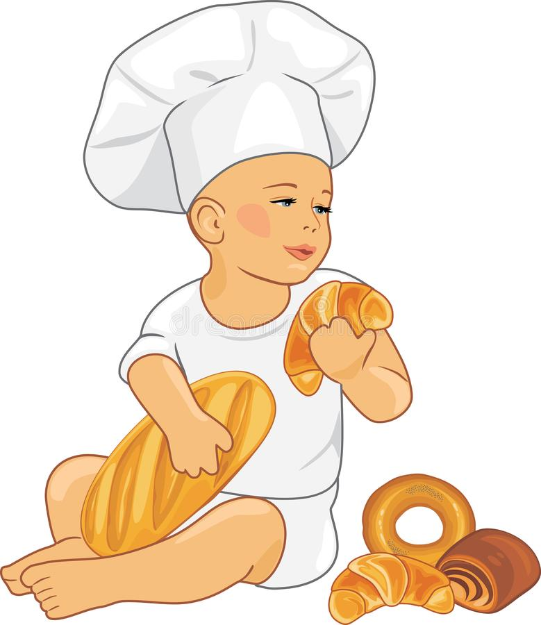 Cute baby baker with croissants and buns royalty free stock image