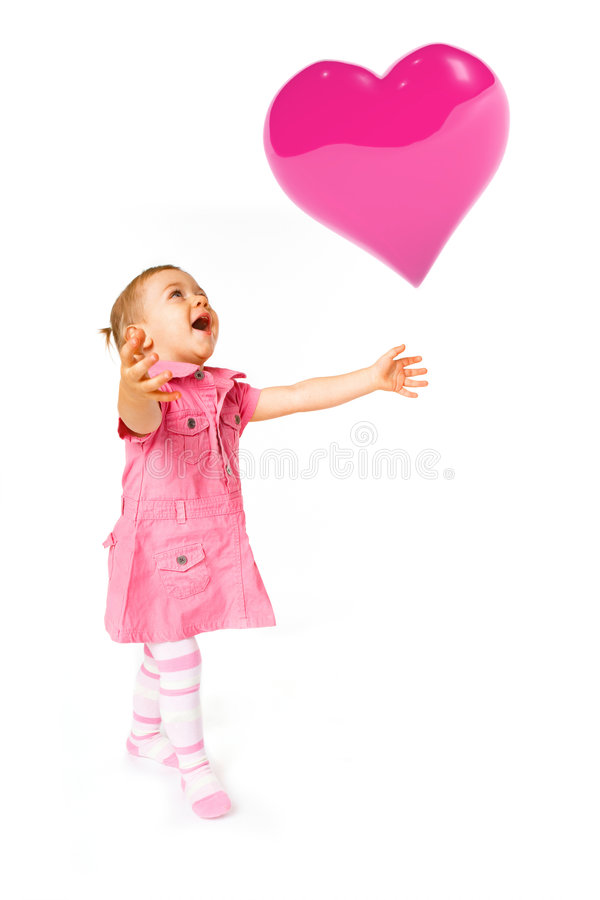 Download Cute baby with ballon stock photo. Image of color, happy - 7613392
