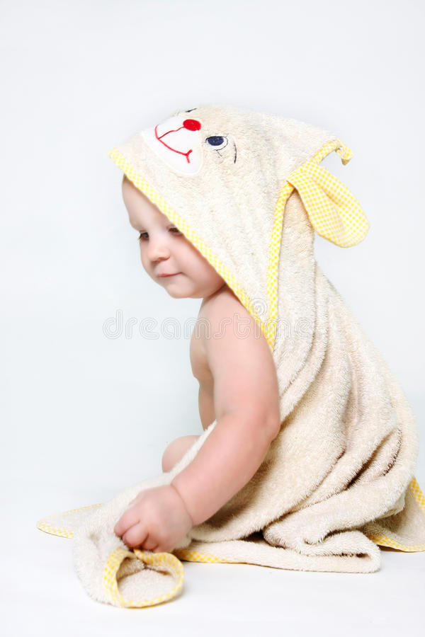 Download Cute baby after bath stock photo. Image of daughter, european - 13368094