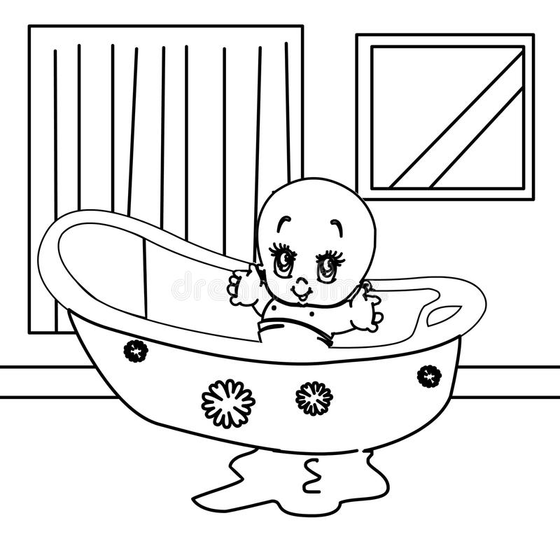 Cute Baby In A Bath Coloring Page Stock Illustration - Illustration ...