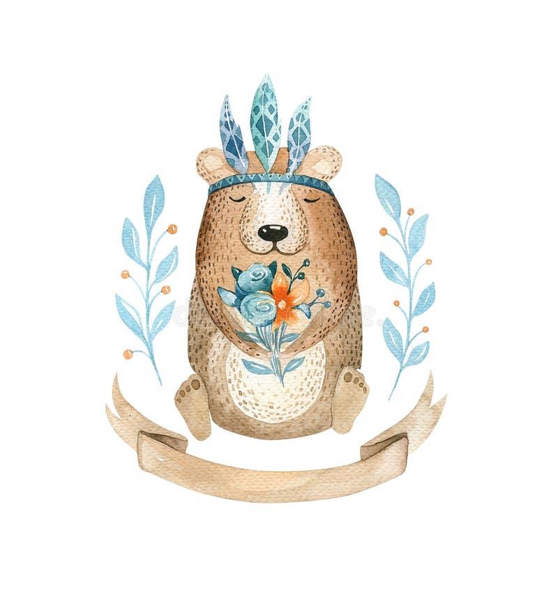 Cute baby bear animal for kindergarten, nursery isolated illust vector illustration
