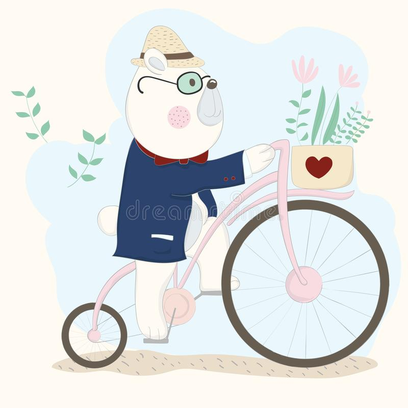 The cute baby bear on bicycle. Hand drawn cartoon style.  vector illustration